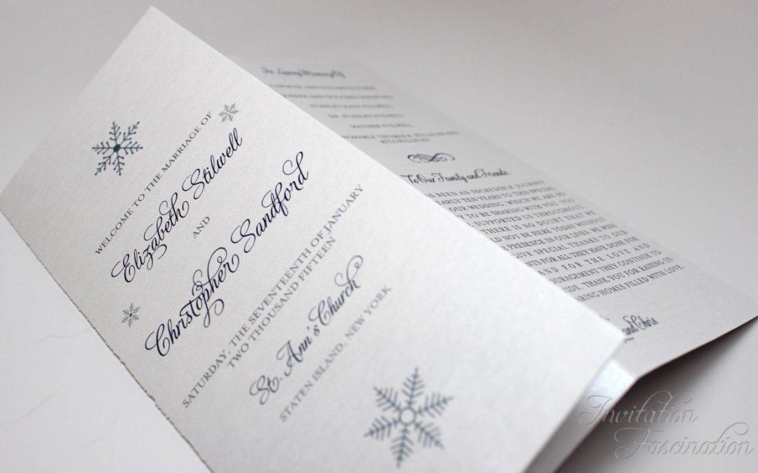 Winter Wedding Wedding Program