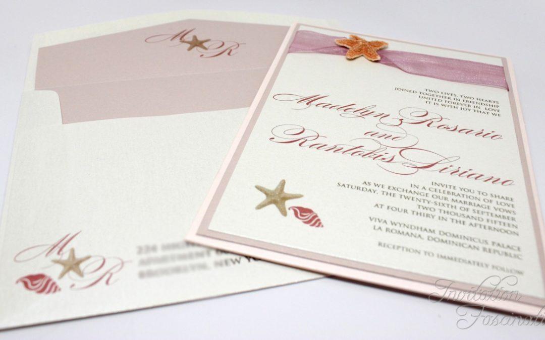 Dusty Rose Beach Wedding Invitation